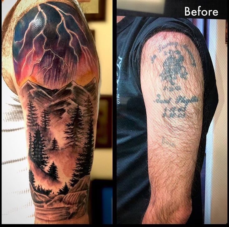 Before And After Of My Cover Up Tattoos Watercolor Tattoo