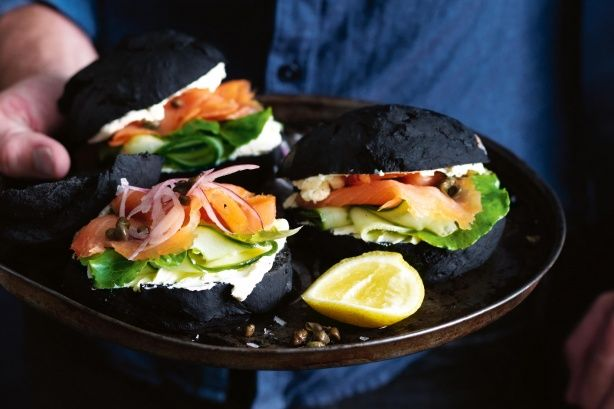Matt Preston re-invents French pastry chef, Gontran Cherrier's jet black buns in this strikingly different recipe. He give the buns an Aussie twist by filling it with trout, cream cheese and fresh cos lettuce.