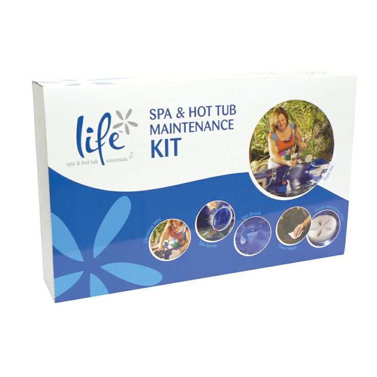Life Complete Spa and Hot Tub Maintenance Kit, Includes: Spa-Vac Underwater Vacuum and Venturi Pump, Spa Scoop, Spa Brush, Cleaning Mitt, Scum Absorbing Disk, Cover Wipes, Telescopic accessory pole.
