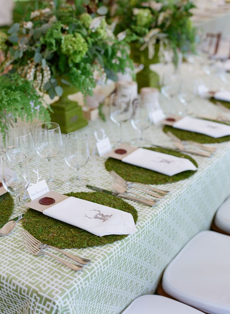 Moss Placemats. Whimsical Elegance! Click here for more of the wedding: http://www.StyleMePretty.com/2014/05/22/modern-meets-rustic-in-wyoming/ Photography: CarriePattersonPhotography.com - Event Design: The Writing Horse | Event Planning: In Any Event