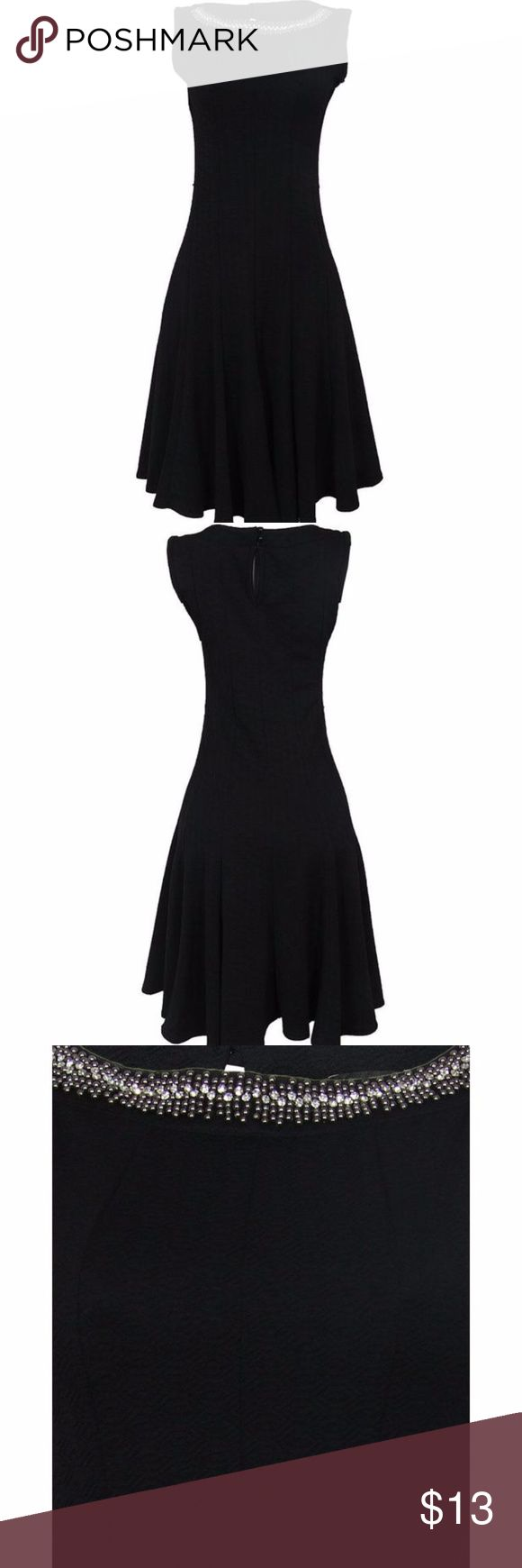 HAANI Petite BLACK DRESS (SIZE: PS) Haani Embellished Neckline Flared Dress - Black A ladylike fit and flare dress with a glamorous embellished front Stretch sturdy polyester/spandex fabric Sleeveless Seamed front and back for a perfect fit. Flared skirt Back button closure HAANI Petite Dresses