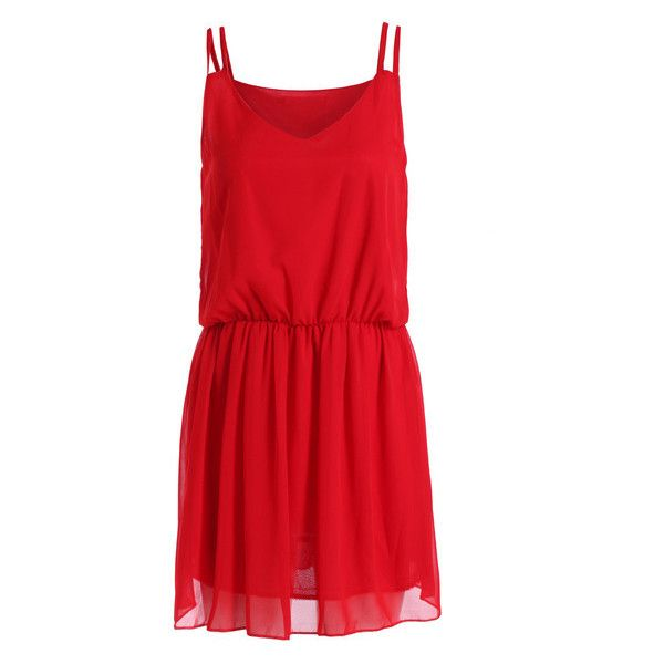 Red Spaghetti Strap Slim Chiffon Dress (17 BAM) ❤ liked on Polyvore featuring dresses, romwe, slimming dresses, chiffon dress, slim fit dress, red chiffon dress and slim fitting dresses