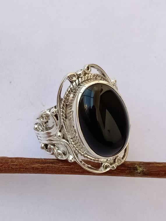 Designer Ring Women Ring Handmade Ring Bohemian Ring Gemstone Ring Gift For Her Black Onyx Ring Statement Ring 925 Silver Ring