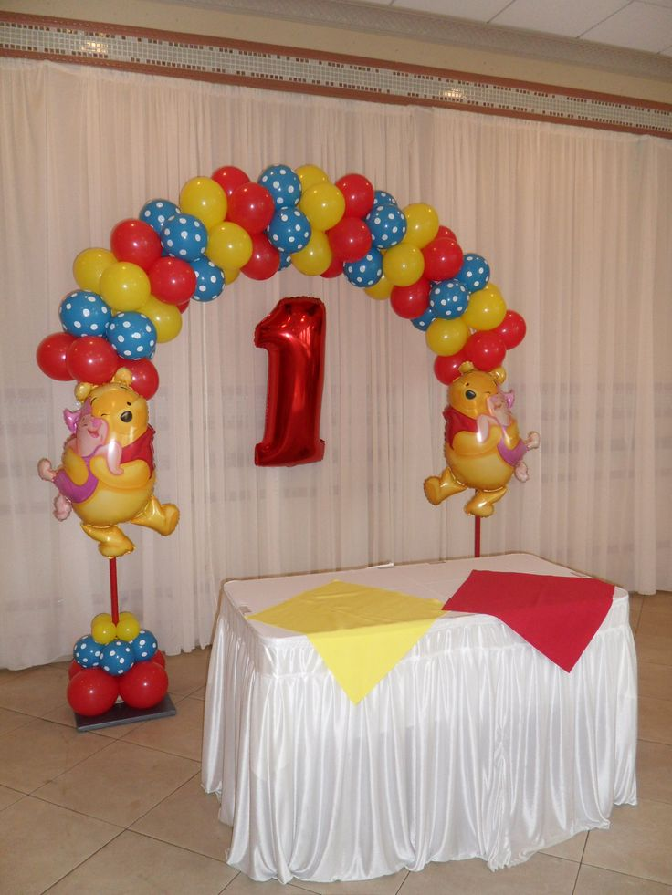 Winnie The Pooh Theme Balloon Arch Using Red Blue Polka