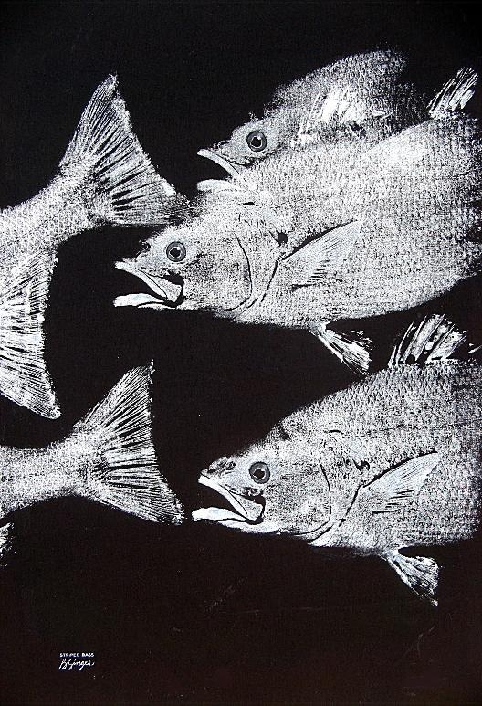 Barry Singer ~ Striped Bass (gyotaku, traditional Japanese printmaking)
