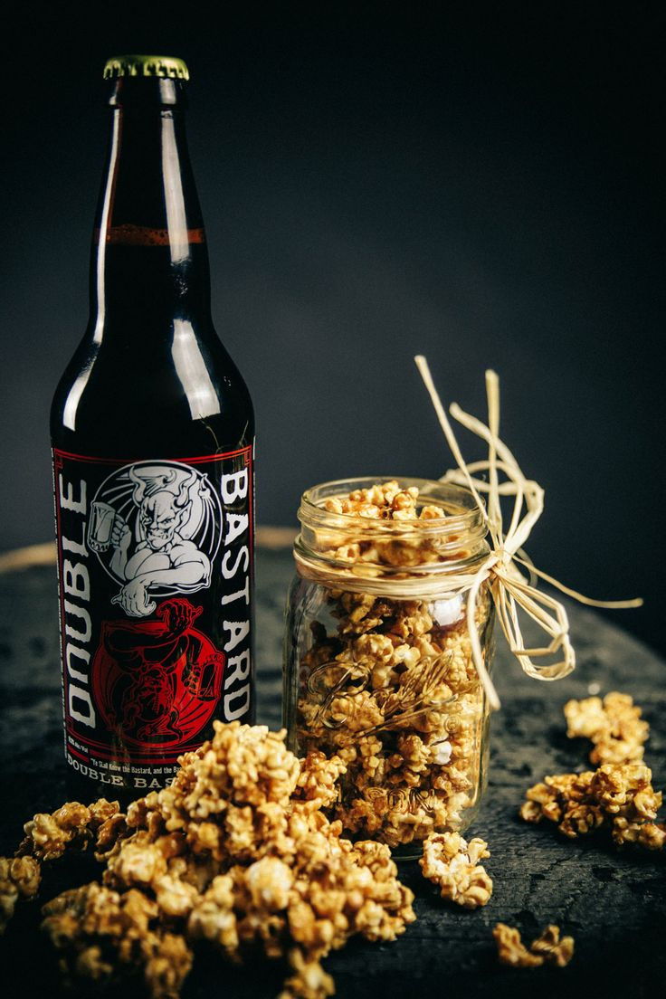 Salted Beer Caramel Corn made with #stonebrewing Double Bastard Ale. Adapted from The Beeroness. Recipe here: http://thebeeroness.com/2013/09/18/salted-beer-caramel-corn/