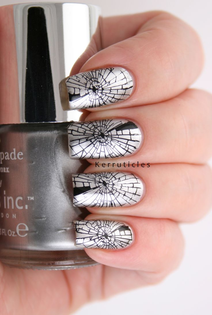 Stamped shattered glass nails, using Nails Inc Soho Silver and Bundle Monster BM-608 stamping plate, stamped with Konad Black polish.