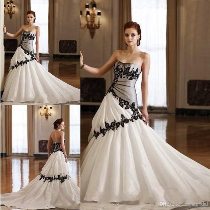 Trending Cheap Black White Gothic Wedding Dresses Line Strapless Lace Bridesmaid Maleficent