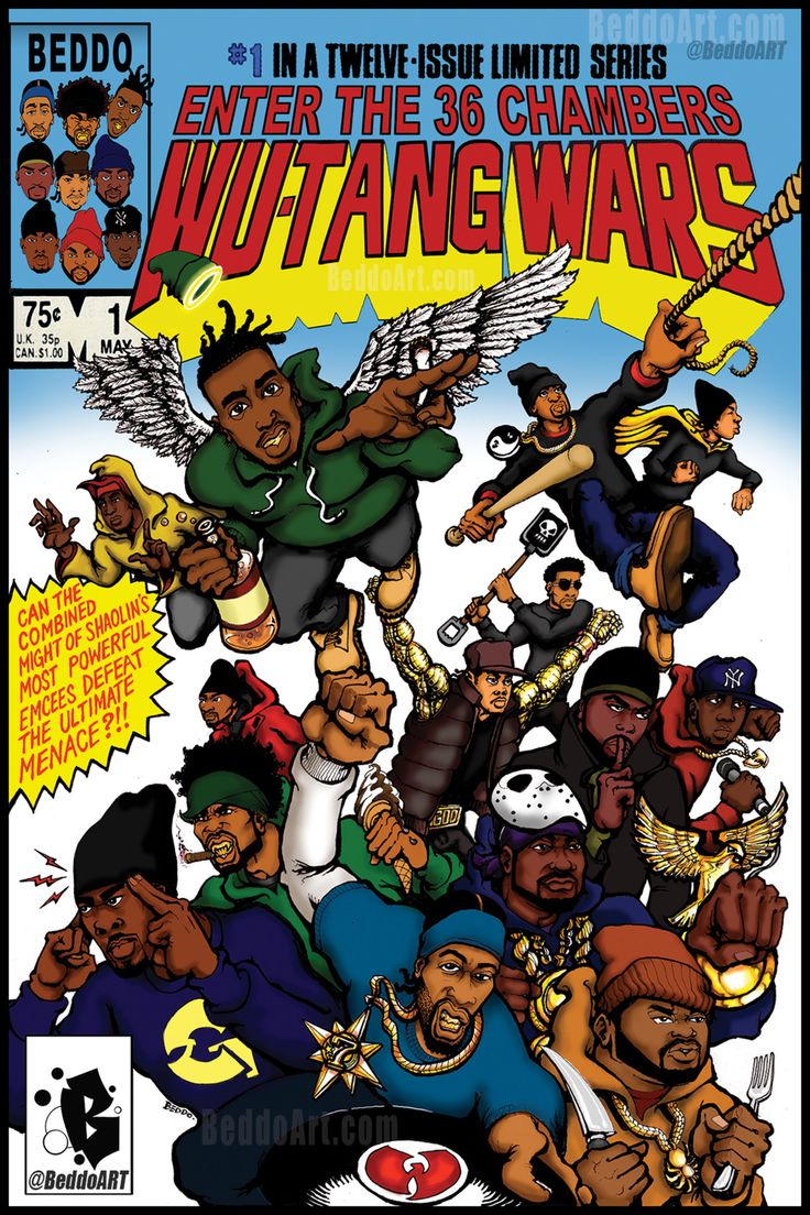 """Wu-Tang Wars #1 by Beddo (Classic comic book cover remix of Secret Wars #1, 1984). Tumblr, Twitter, Instagram - @beddoart """"My thoughts must be relaxed, be able to maintain/ Cause times is changed and life is strange/ The glorious days is gone, and..."""