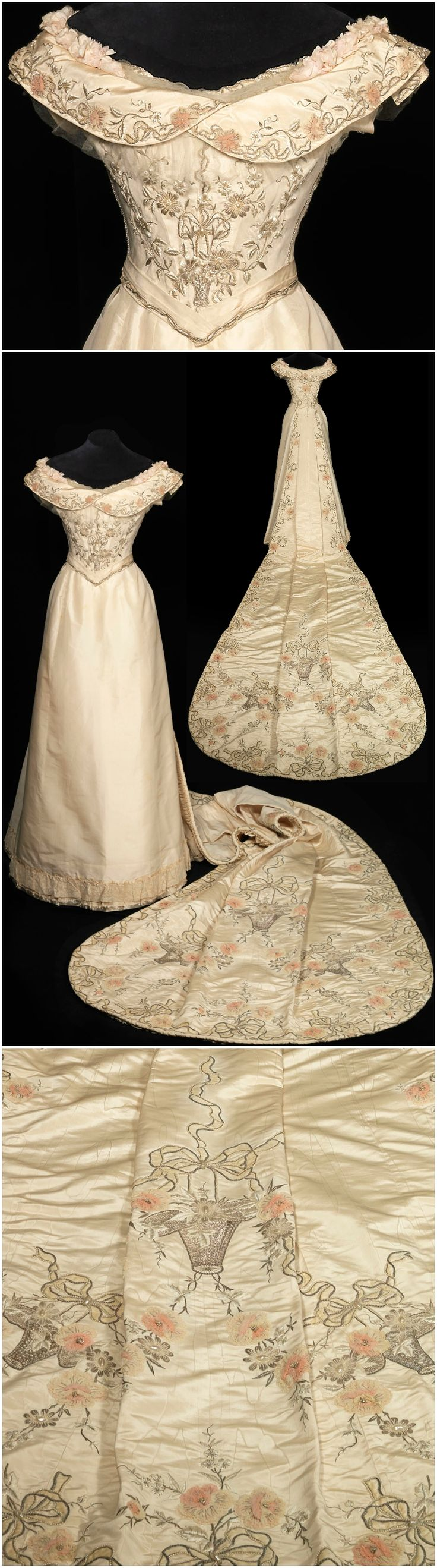 Court train, by Nicaud of Paris, 1901, Paleis Het Loo. Photos: Stef Verstraaten. From the trousseau of Queen Wilhelmina of the Netherlands. The gala bodice was created later. Silver wire, glass beads, tulle, tarlatan. Louis XVI-style embroideries.