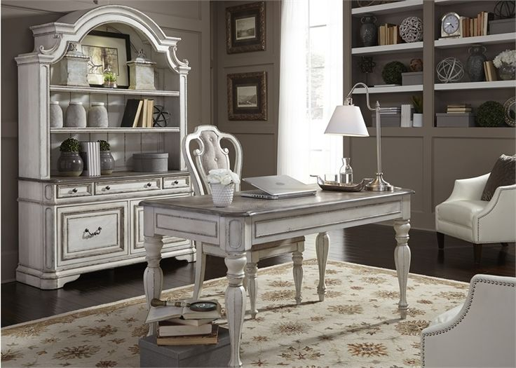 Magnolia Manor 3 Piece Home Office Set in Antique White Finish by Liberty Furniture - 244-HO-3DH