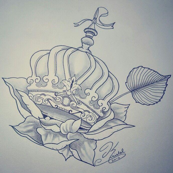 Crown floral tattoo design tattoo sketch art