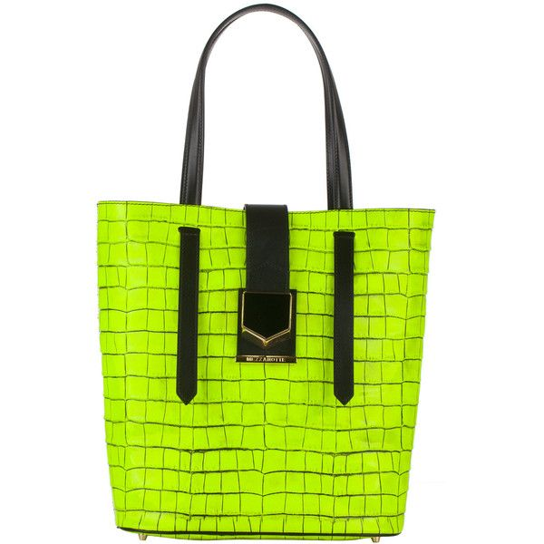 MEZZANOTTE PISA TOTE ($375) ❤ liked on Polyvore featuring bags, handbags, tote bags, tote purses, green tote bag, green tote handbag, tote handbags and green purse