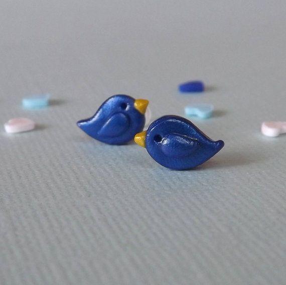 Petite Bluebird Earrings,  Hypoallergenic Studs, Blue Earrings,  Plastic Posts, Sensitive Ears