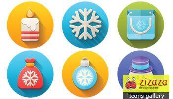 Icon set - Flat Christmas - Zizaza item for