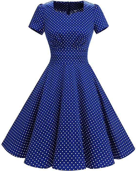 13469906c1e DRESSTELLS Vintage 1950s Solid Color Prom Dresses Short Sleeved Retro  Audery Swing Dress Royal Blue Small White Dot L at Amazon Women s Clothing  store