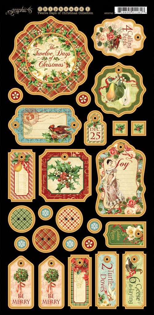 Twelve Days of Christmas, Graphic 45, Chipboard Die-Cuts