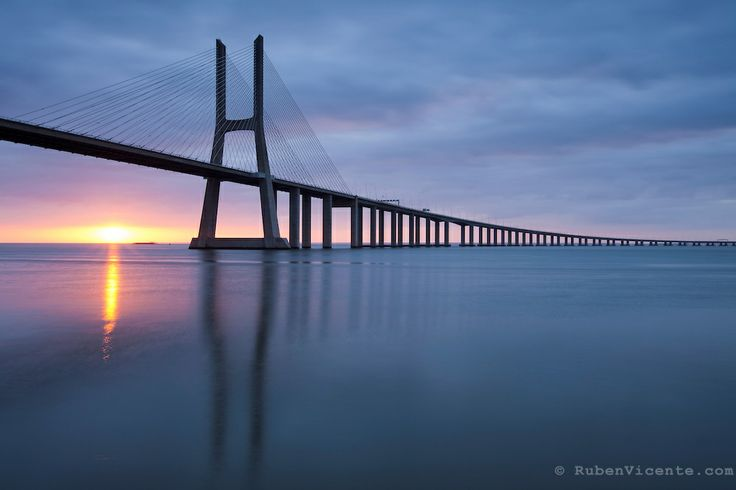 Vasco da Gama bridge sunrise. Lisbon, Portugal