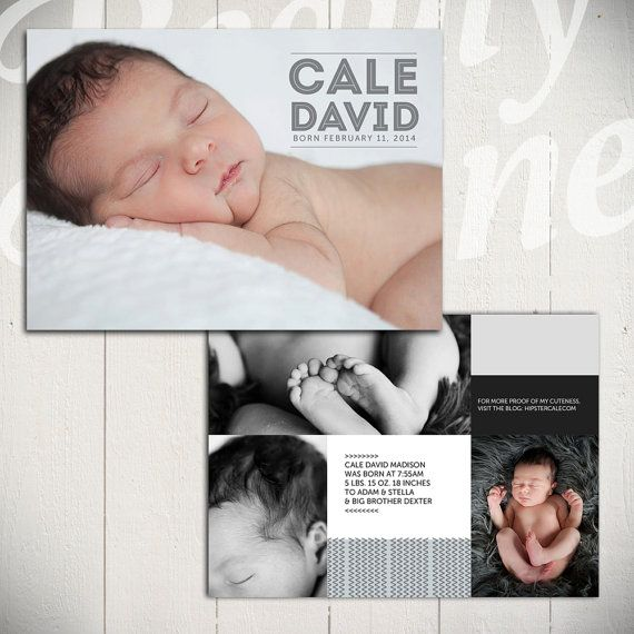 Birth Announcement Template: Midnight Song Card D- 5x7 Card Template Baby Boy or Baby Girl