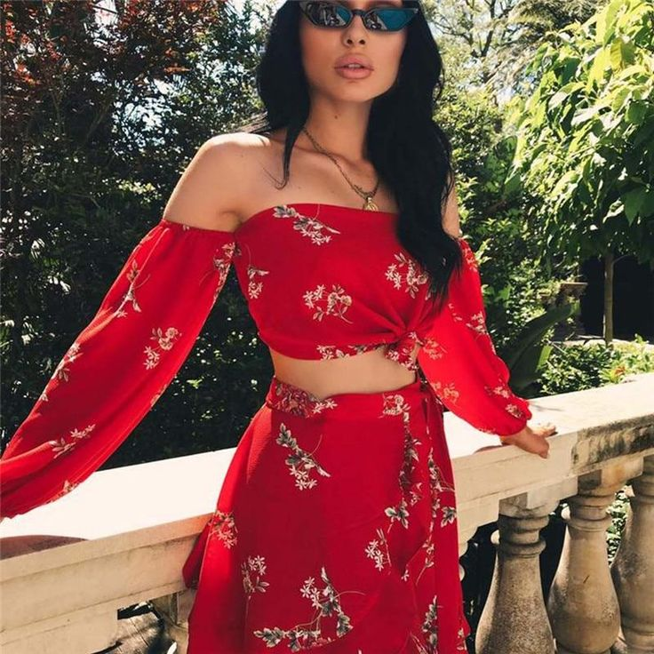 Floral print off the shoulder top with maxi skirt set 2