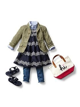 I'd have my daughter wear closed toes shoes and NOT sandals with this outfit. |Toddler Girl Clothing: Dresses + Leggings | Gap