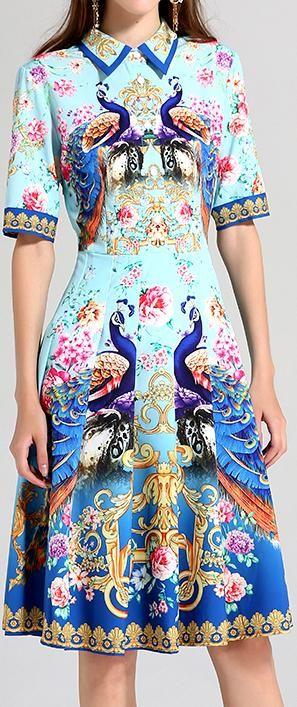 71dab9bfb90 Baroque Parrot Print Shirt-Dress – DESIGNER INSPIRED FASHIONS