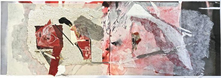 Elaine d'Esterre - Rock Transformation, 2017, etching collage, 30x70 cm. Art blog at https://elainedesterreart.com/ and https://www.facebook.com/elainedesterreart/ and https://instagram.com/desterreart/