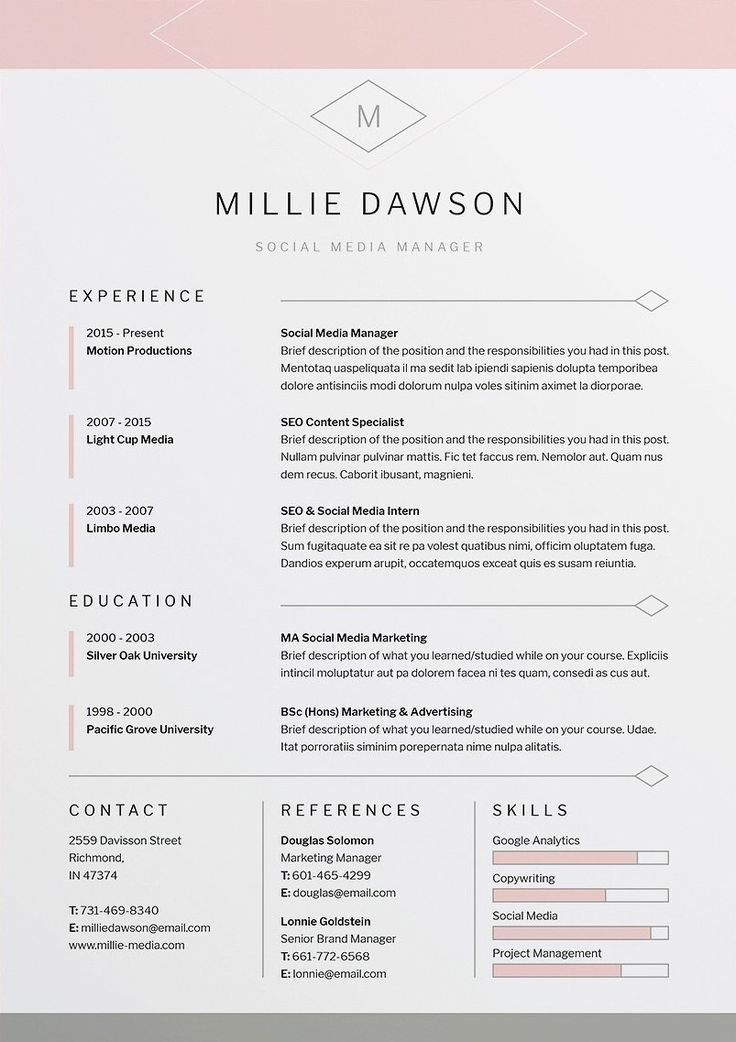 Our design, 'Millie', contains a single page design with matching cover letter for those looking for a more compact presentation. Everything is editable including fonts and colors so be sure to personalize to suit your needs. Move and duplicate elements and make the design your own! A beautiful, Professional Template for Word / Photoshop / Indesign