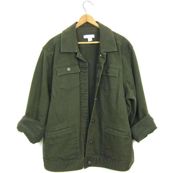 Vintage Army Green Jean Jacket 90s Dark Green Denim Grunge Jacket... (£32) ❤ liked on Polyvore featuring outerwear, jackets, coats, baggy denim jacket, olive denim jacket, army green jackets, jean jacket and green denim jacket