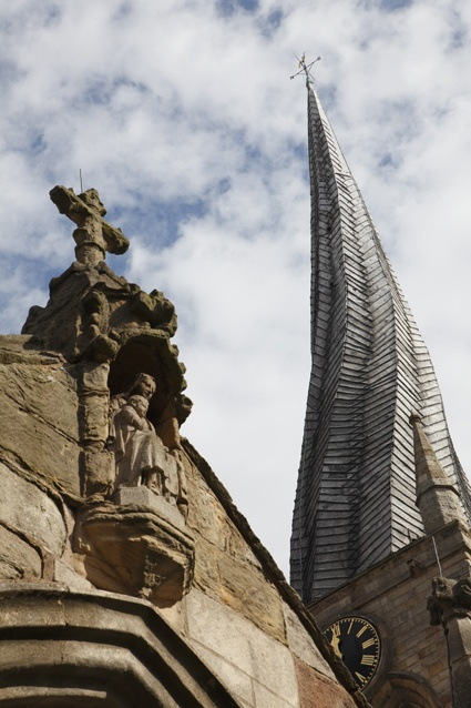 twisted spire on St Mary and All Saints Church in Chesterfield, Derbyshire, England.