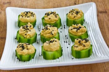 Recipe for Hummus and Cucumber Appetizer Bites with Sesame Seeds | Kalyn's Kitchen®