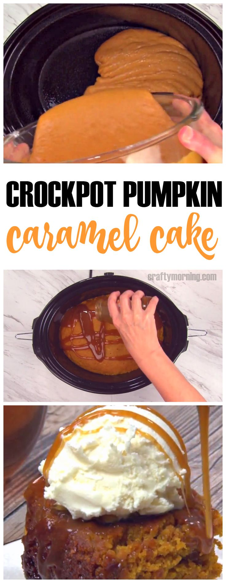 Crockpot pumpkin caramel cake recipe...this fall dessert is so easy and yummy!!