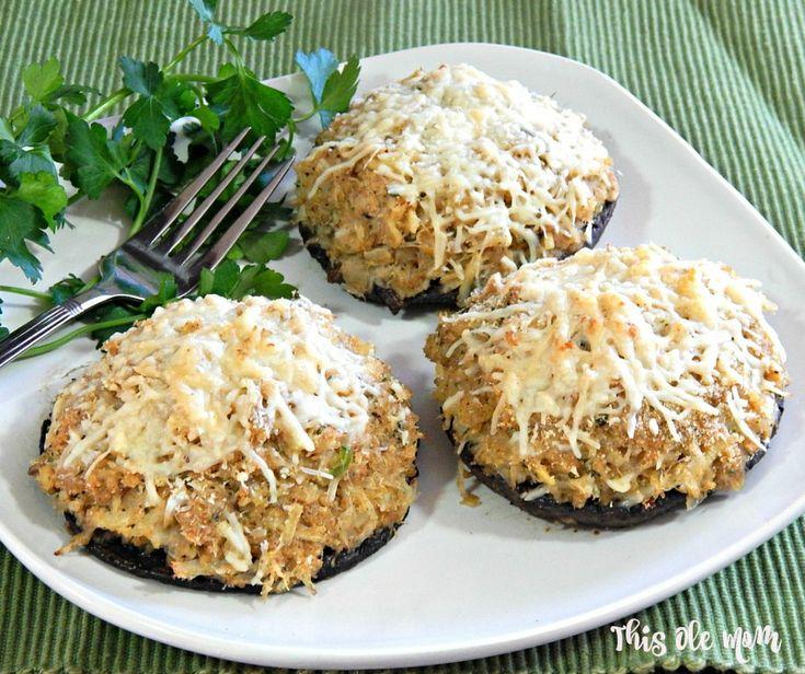 Portobello Mushrooms Stuffed with Crabmeat and Hamilton Beach Easy Reach 4 Slice Toaster Oven Giveaway. #ad #easyreach @hamiltonbeach