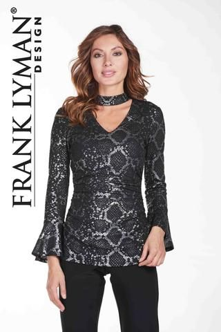 Chic python print tunic with belle sleeves and choker neck. Proudly Made in Canada