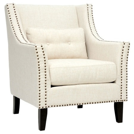Lounge Chair with Bronze Nailhead Trim.