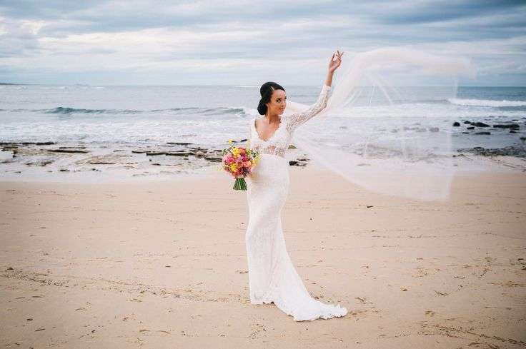 Stunning Veil in the wind Beach Bridl Gown www.whenfreddiemetlilly.com.au