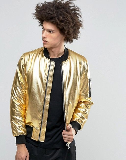 ASOS | ASOS Bomber Jacket With MA1 Pocket In Gold