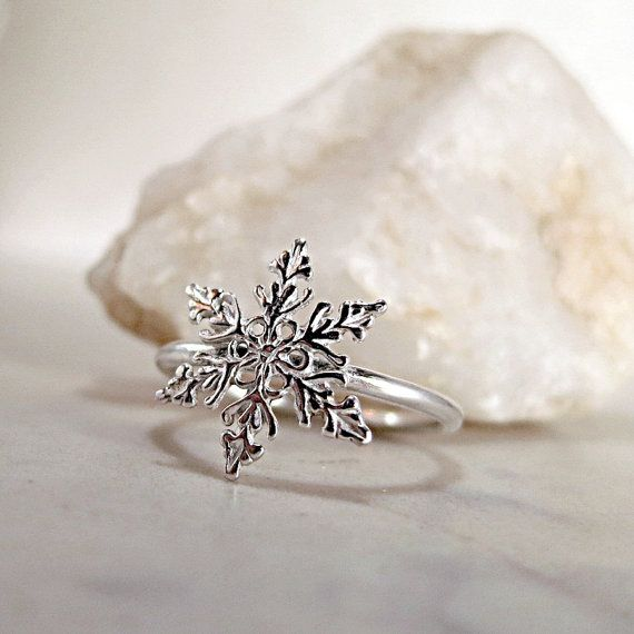 Snowflake ring Sterling Silver Winter by BarronDesignStudio