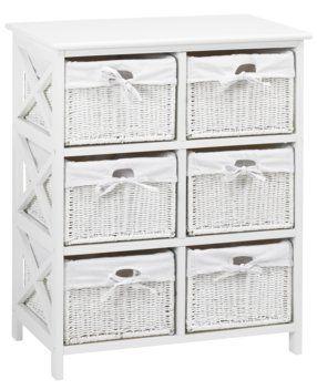 Komoda OURE 6 košíků bílá | JYSK