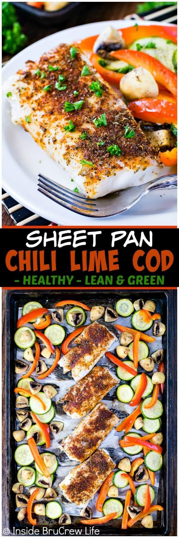 Sheet Pan Chili Lime Cod - roasted veggies and a chili rub adds a fun flavor to this easy and healthy fish dinner. Perfect lean and green recipe that can be on your table in under 30 minutes. #healthy #lean