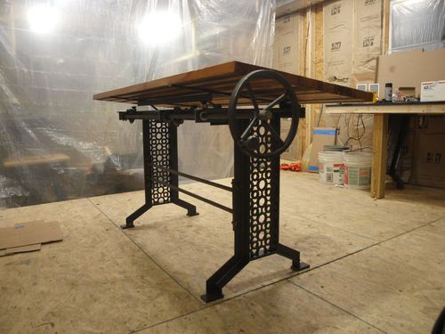 Charming Elegant Iron Machine Table Base Legs INDUSTRIAL FURNITURE ANTIQUE VINTAGE  CAST