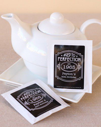 Our birthday tea collection is a wonderful way to say thank you to your guests for sharing in your birthday celebration. Each tea bag is personalized with a custom printed label that's trendy and provides an alternative to traditional birthday party favors.