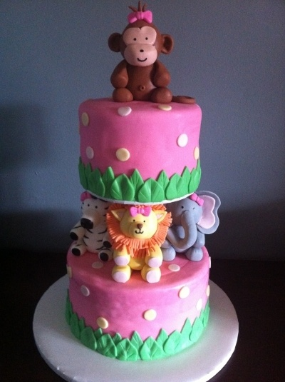 Animal Baby Girl Shower Cake By MelaMang75 on CakeCentral.com