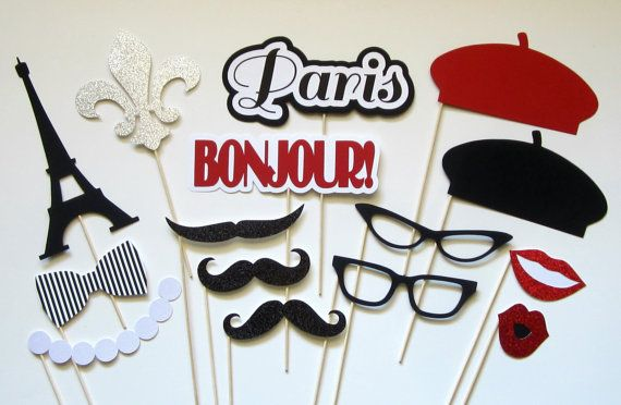 {Paris photo booth props...Ooh la la!}  Set of 15 includes:  • 2 glitter lips {pink or red} • 3 glitter mustaches • 1 glitter pearl necklace •