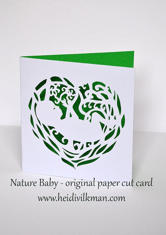 New Baby  Baby Announcement Card  Original Paper Cut by TaikaEarth