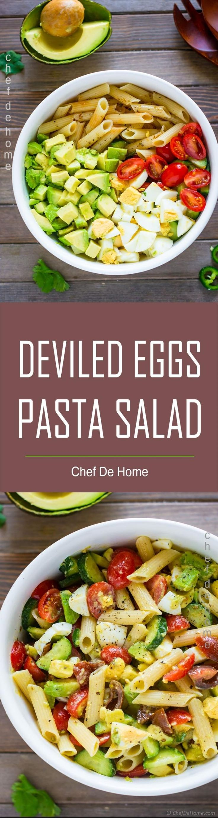 Put leftover Easter eggs to delicious use with this easy Deviled Egg Pasta Salad! In this egg pasta salad creamy avocados, sweet cherry tomatoes, crunchy cucumber, leftover/boiled eggs meet a zesty lemony dressing.. for a scrumptious dinner pasta salad!