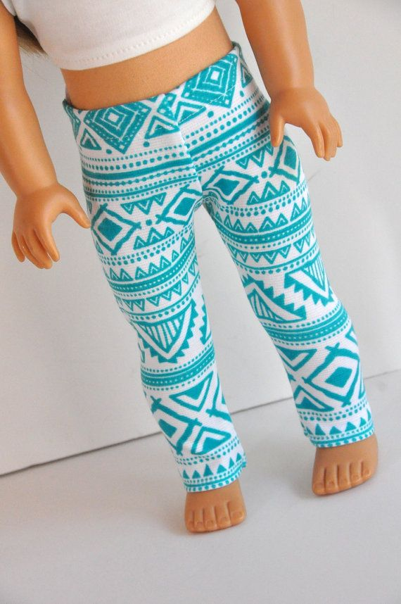 Teal Aztec tribal leggings by CircleCSewing on Etsy. Made using the LJC Leggings pattern, found at http://www.pixiefaire.com/products/leggings-18-doll-clothes. #pixiefaire #libertyjane #leggings