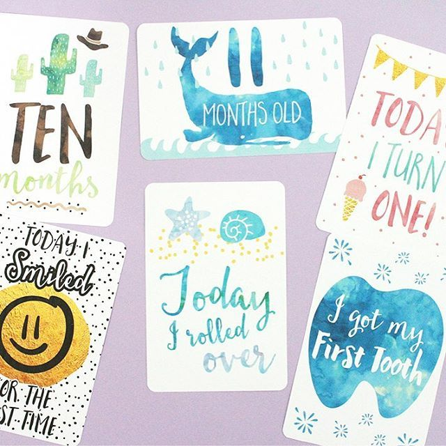 Printable Baby Milestone Cards mockeri.etsy.com #printable #babymilestone #baby…