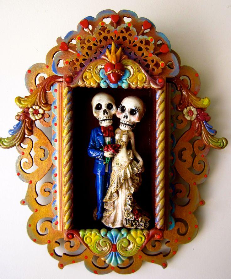 """Dia de los Muertos """"Los Novios"""" nicho art, mixed media, by Emily Costello"""