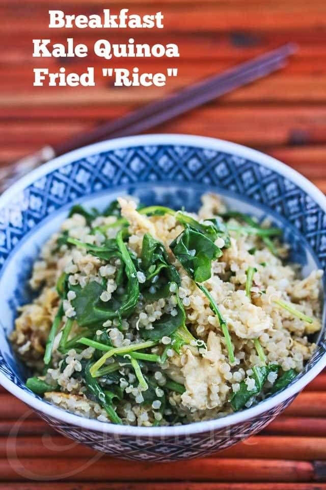 "Breakfast Kale and Quinoa ""Fried Rice"" Recipe - part of the 15-minute Quinoa Breakfast Recipes Roundup!"